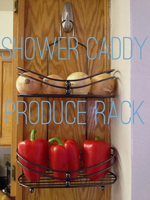 Hang a Shower Caddy at the End of a Cabinet for Storing Vegetables.