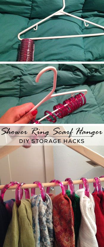 Organize Your Scarves with the Shower Rings Hung on Hangers.