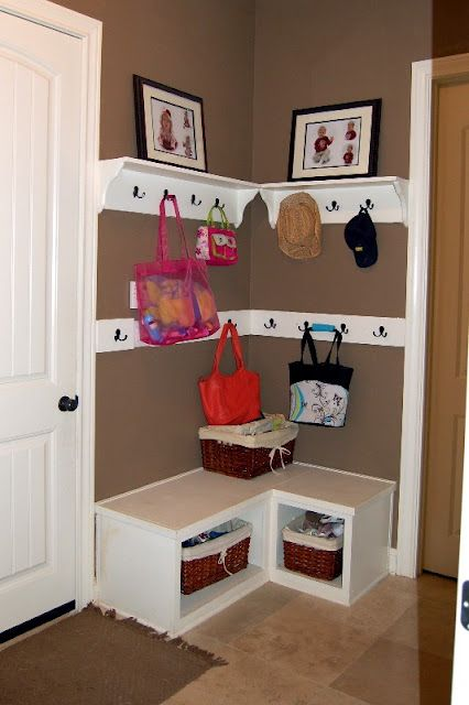 Make Use of the Corner Space with the Storage Bench and the Shelves.