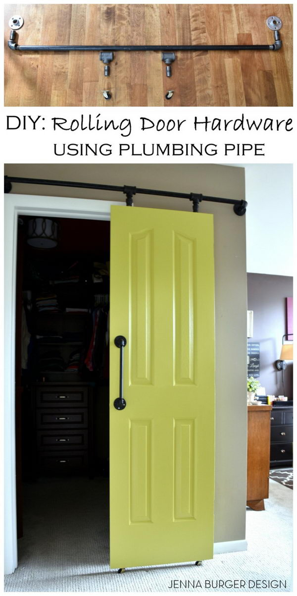 Plumbing Hardware for DIY Barn Door.