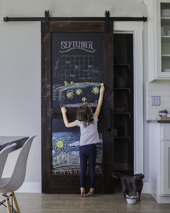 Chalkboard Barn Door for Pantries in the Kitchen.