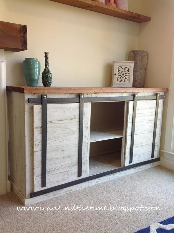 Use sliding Barn Door to Update Your Media Console.
