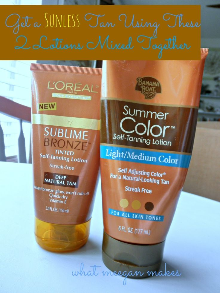 Self-Tanner Recipe Using Two Lotions Together.