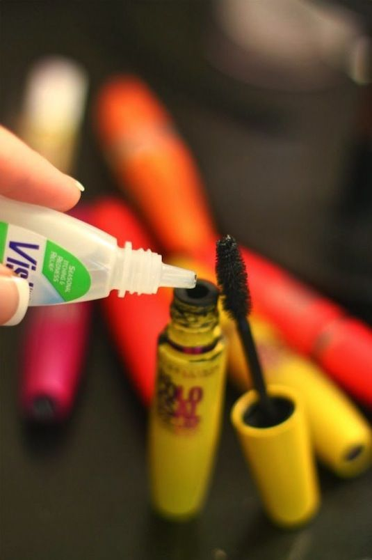 Make Mascara Last 3 Times Longer Using a Drop or Two of Visine.