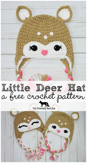 Free Crochet Little Deer Hat Pattern.