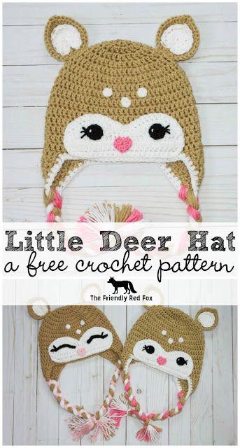 Free Crochet Little Deer Hat Pattern.