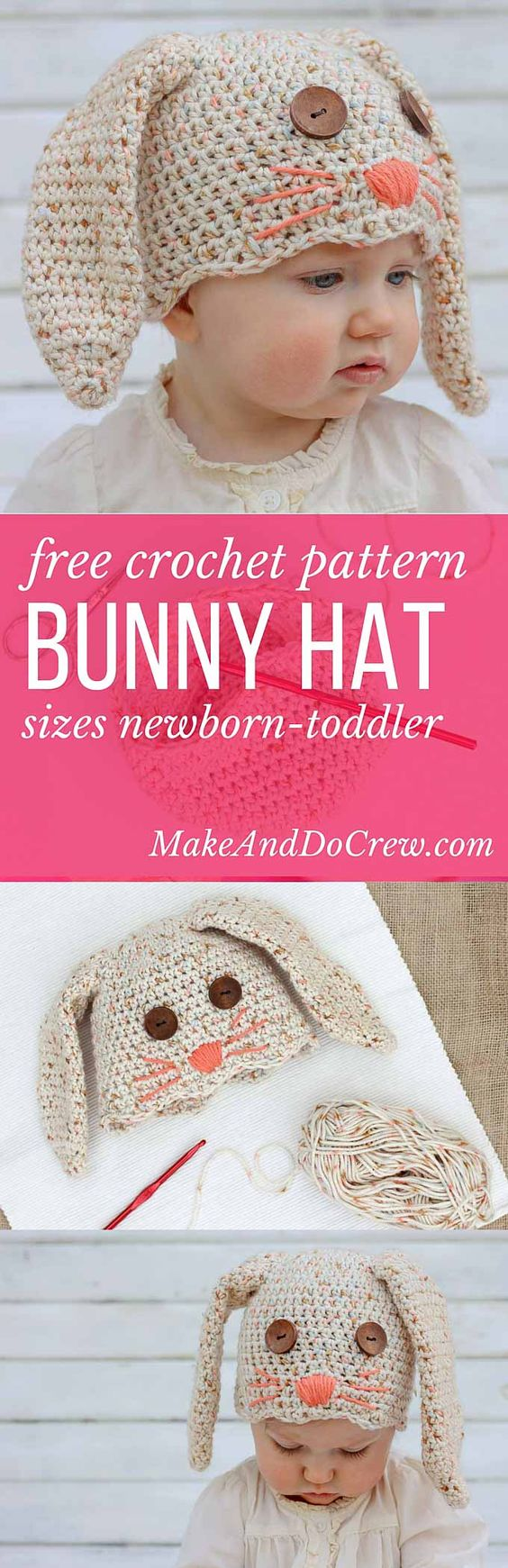 Free Crochet Bunny Hat Pattern.