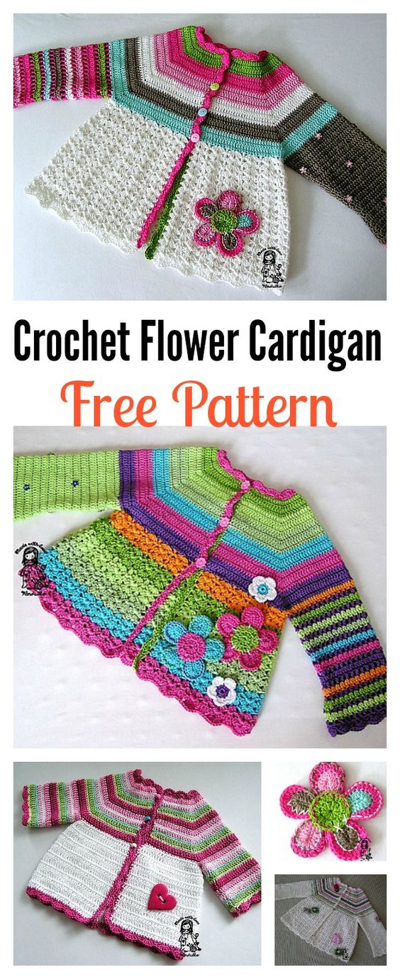 Crochet Flower Cardigan Sweater Free Pattern.