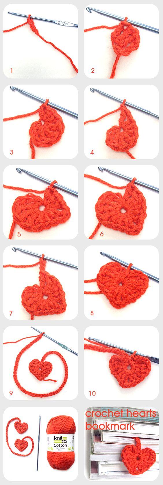 Crochet Hearts Bookmark.