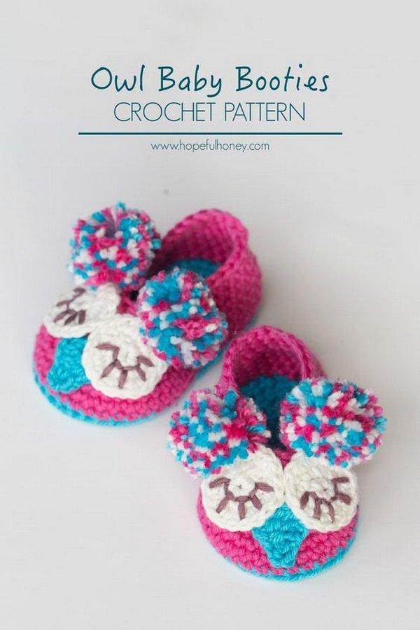 Crochet Owl Baby Booties Tutorial.