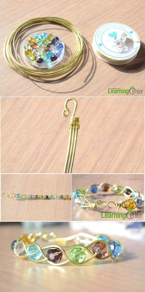 3 Strand Braided Wire Bracelets with Beads.