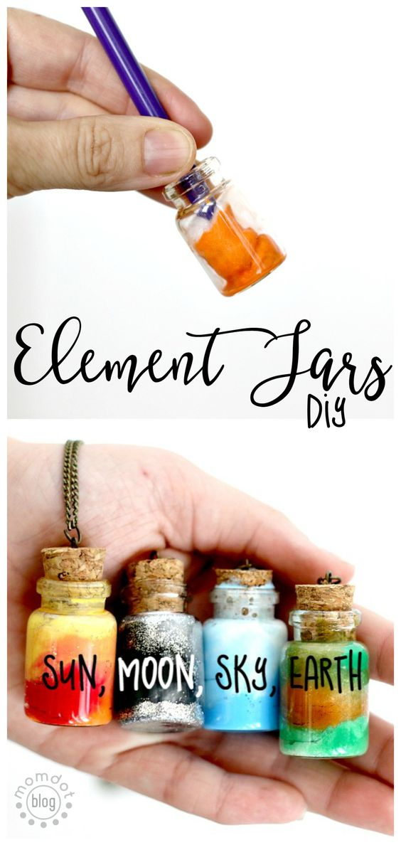 DIY Sun, Moon, Earth, and Sky in These Fun Element Jar Necklaces.