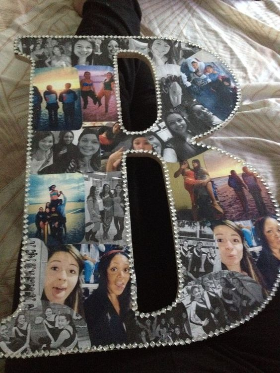 Monogram with Photos and Rhinestones for Best Friend.
