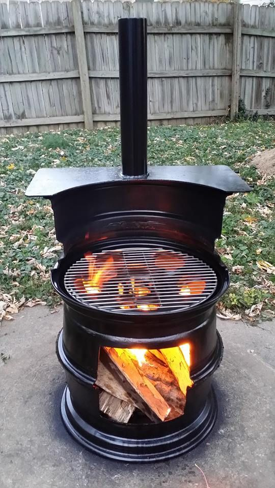 Cool Fire pit Made from 3 Old Rims.