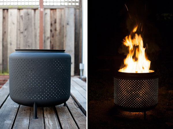 Recycled Washing Machine Drum Fire Pit.