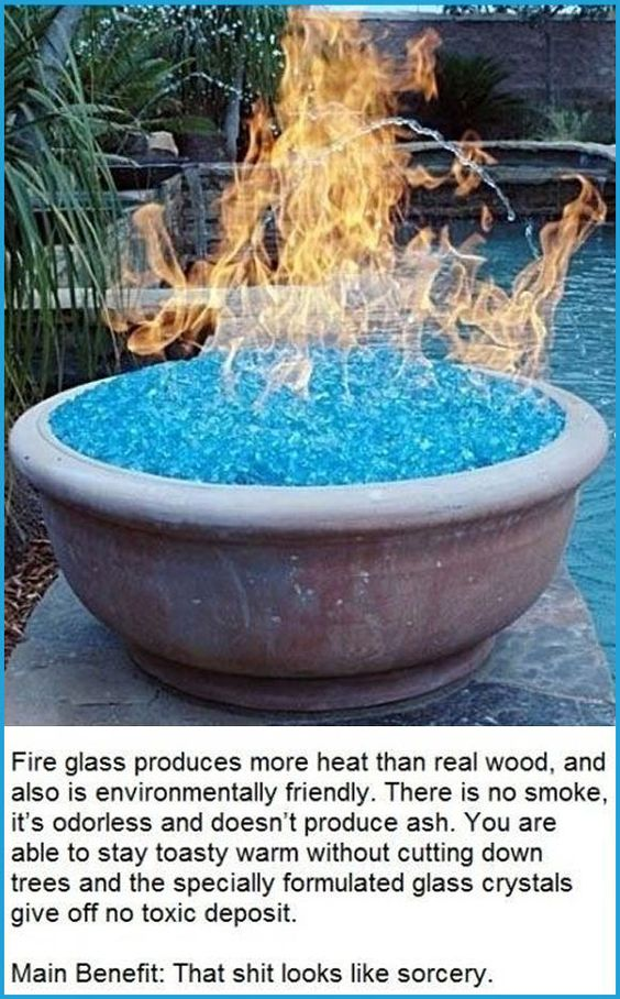 Use Fire Glass Instead of Wood for Your Backyard Fire Pit.