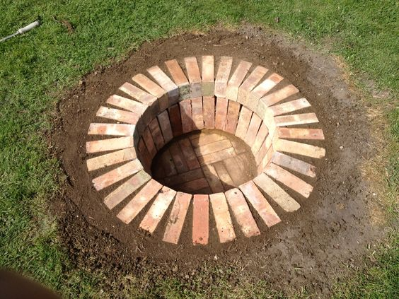 Fire Pit In The Lawn from Reclaimed Bricks.