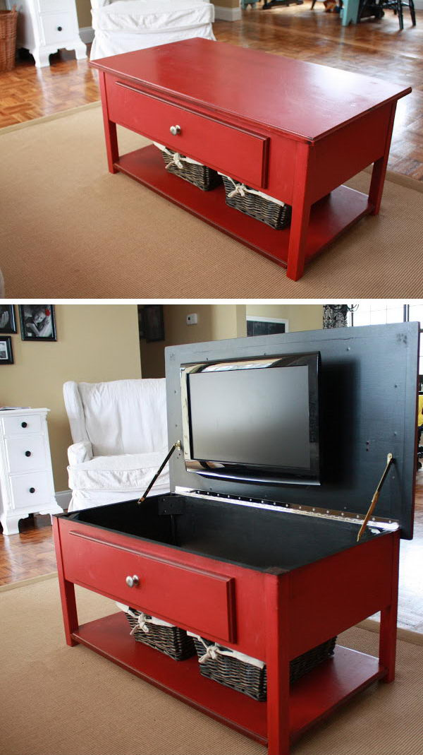 Hide Your Bedroom TV in the Coffee Table.