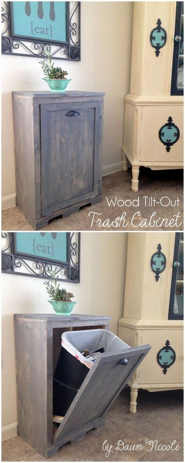 Hide Your Trash Can in Style with the Tilt-Open-Door Cabinet.