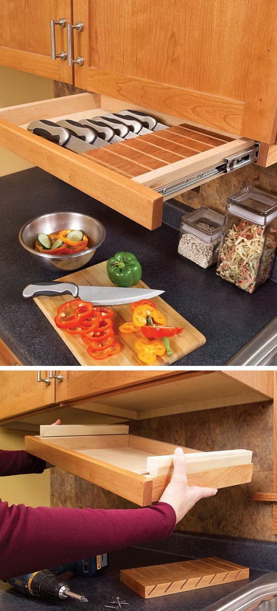 This Pull Out Drawer Under Kitchen Cabinet Is Perfect For Storing Knives