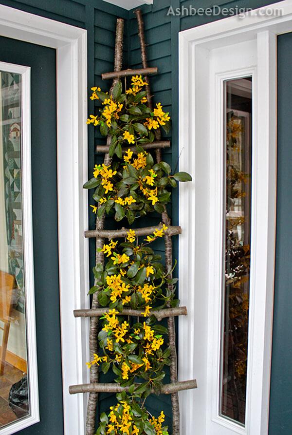 DIY Branch Ladder Flower Display.