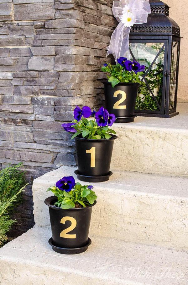 House Number Flower Pot Decoration.