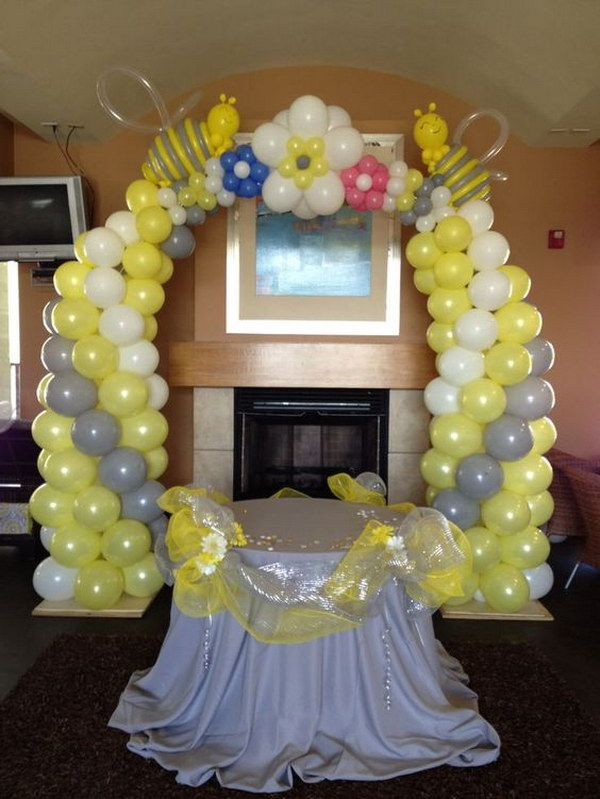 Bee Themed Balloon Arch For Baby Shower