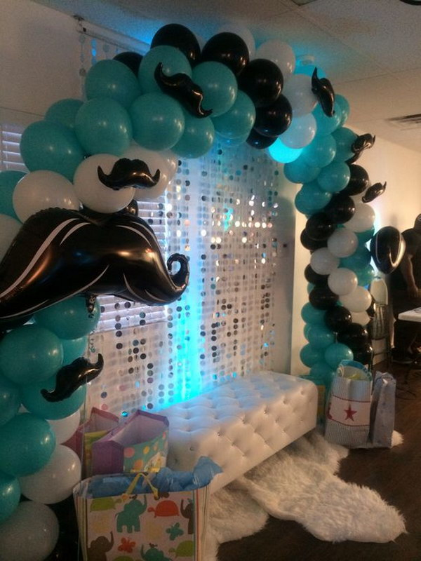 Mustache Baby Shower Balloon Arch.