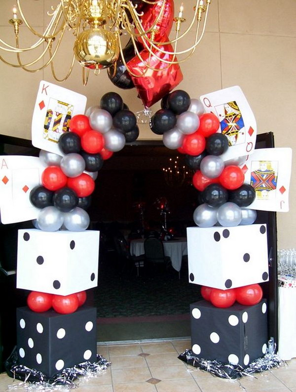 Balloon Arch for Casino Theme Party.