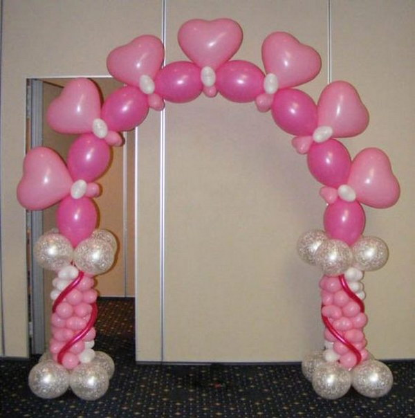 Pink Balloon Arch with Cute Hearts.