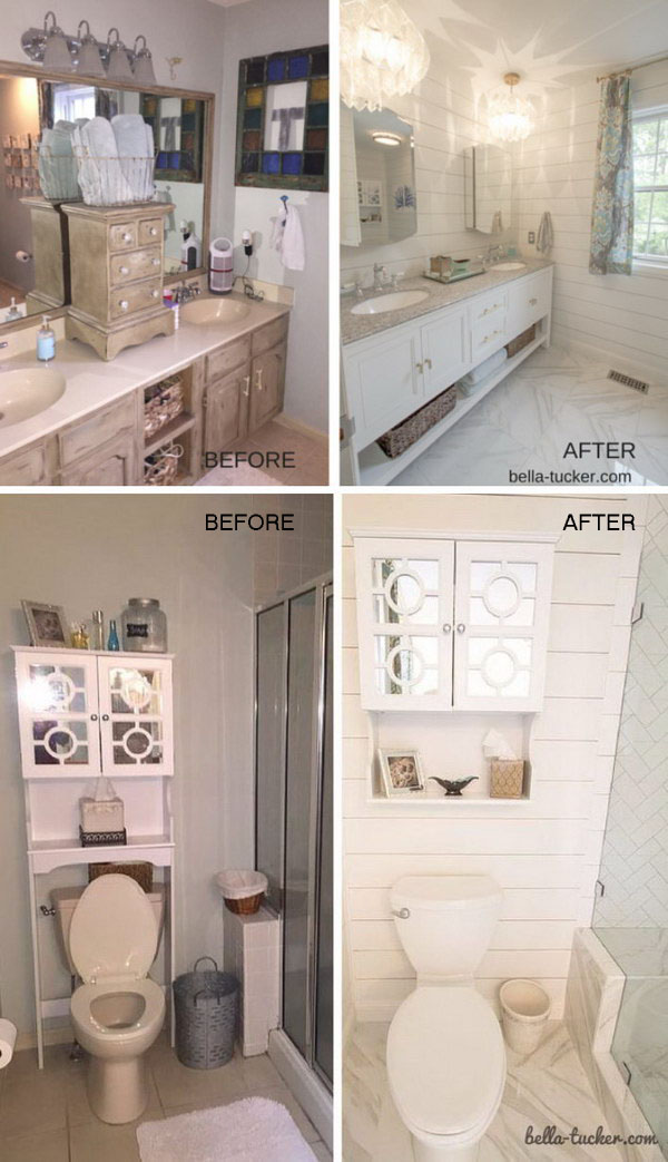 Before and after makeovers 30 awesome bathroom remodeling ideas 2017 Cheap bathroom remodel before and after