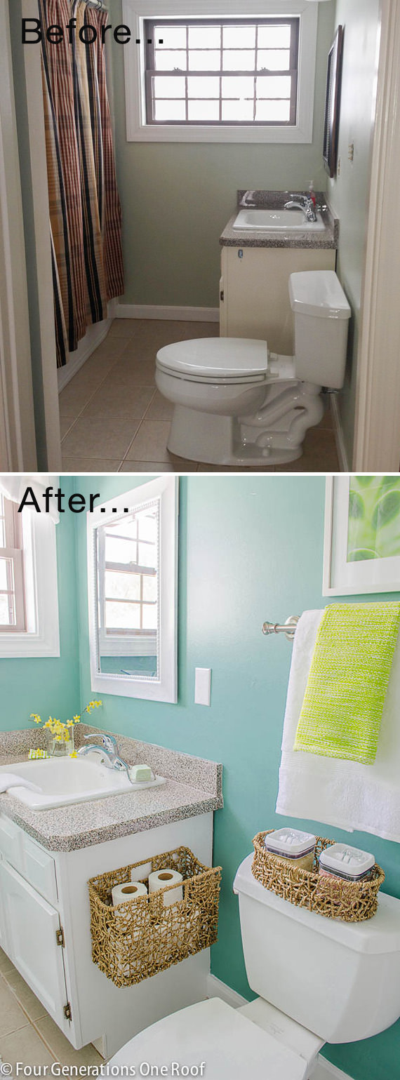 This Makeover Makes The Small Bathroom Fresh and Bright.