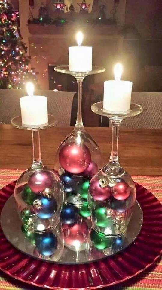 Upside Down Wine Glasses Centerpiece.