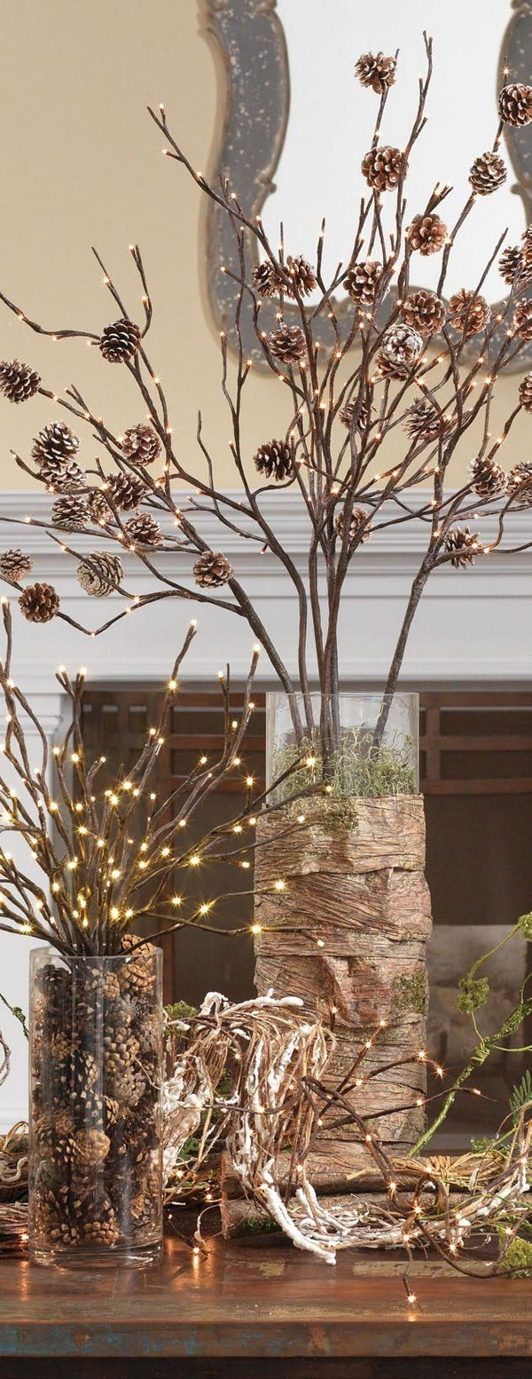 Lighted Pinecone Branch Centerpiece for Rustic Christmas Decor