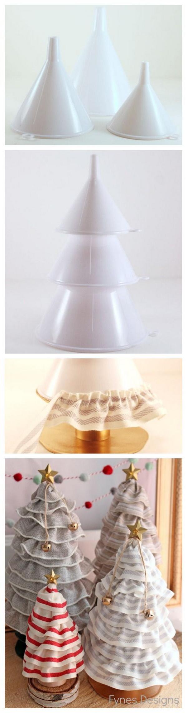 DIY No-sew Ruffle Ribbon Christmas Tree Cones