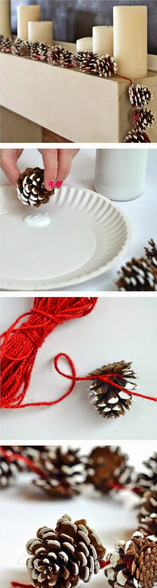 Pine Cone Garlands for Christmas Decoration.