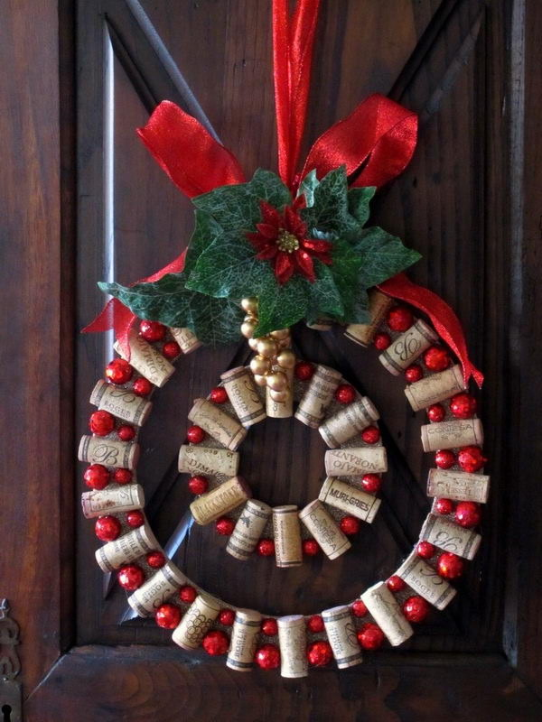 Wine Cork Christmas Wreath.