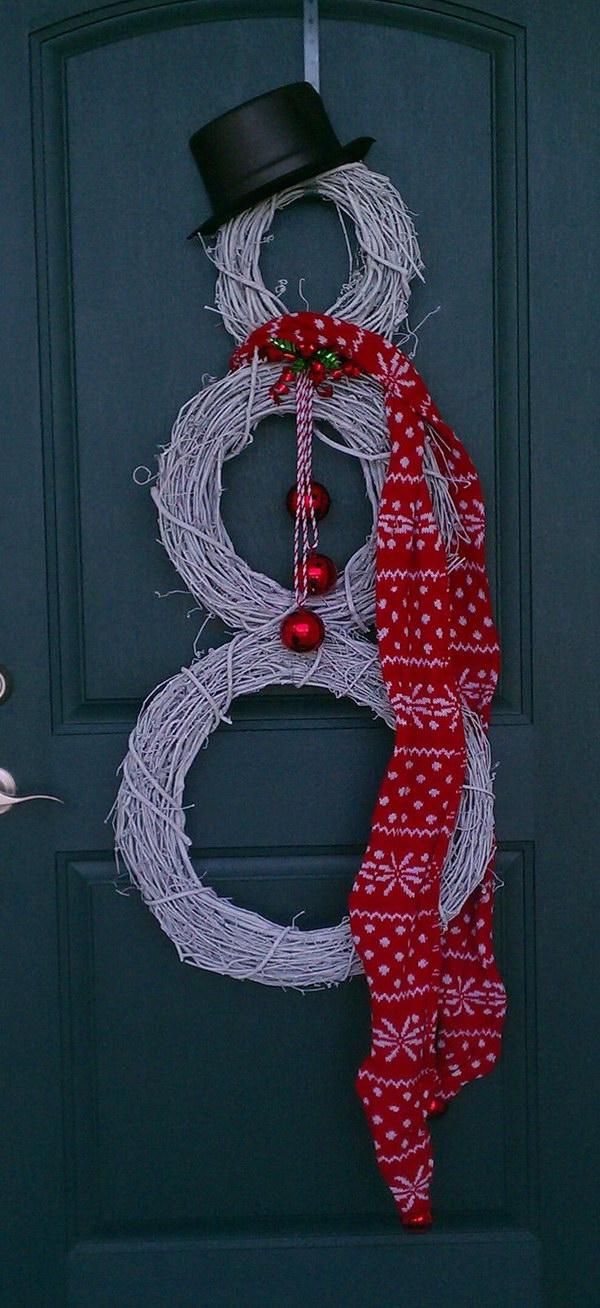 DIY Rustic Snowman Wreath.