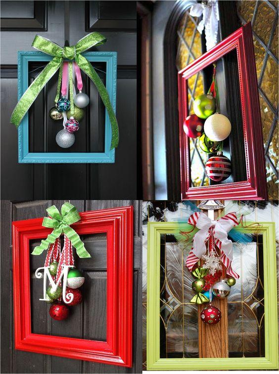 DIY Holiday Framed Ornament Wreath.
