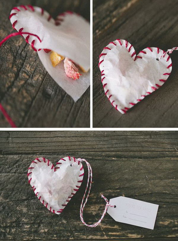 Handmade Valentine Tea Bag Made From Coffee Filter