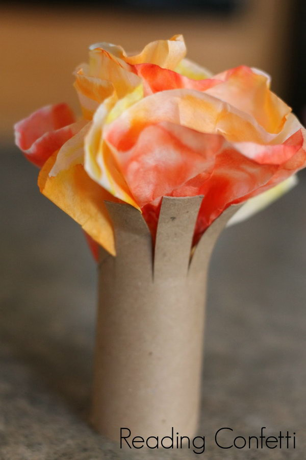 Fall Trees Made With Toilet Paper Rolls And Coffee Filters