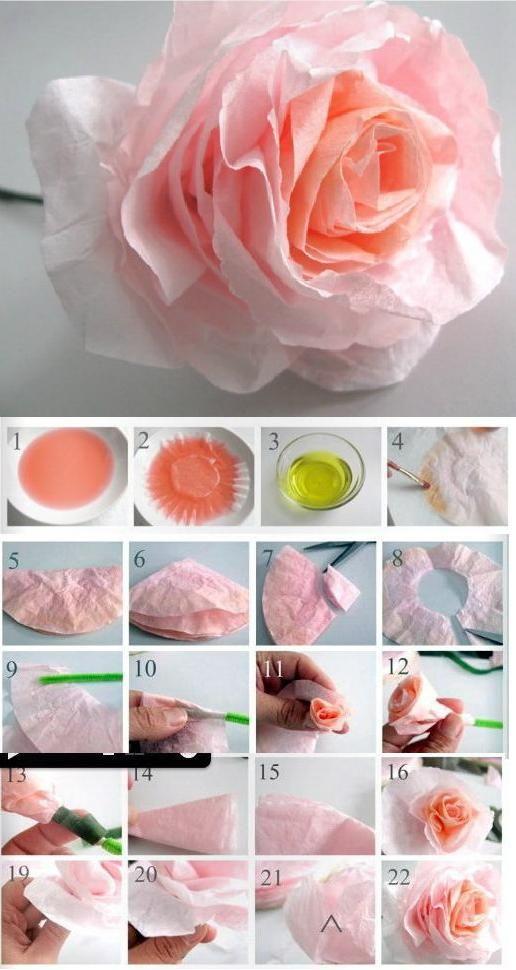 DIY Beautiful Coffee Filter Rose.