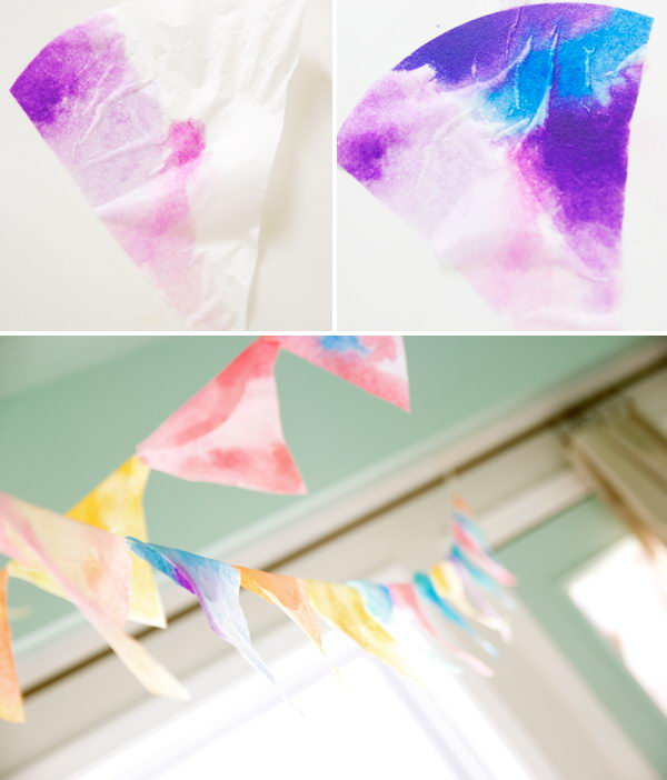 This Coffee Filter Watercolor Banner Makes Great Party Decor