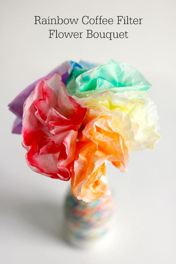 Rainbow Coffee Filter Flower Bouquet