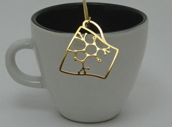 Caffeine Molecule in a Coffee Cup Necklace.