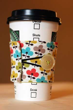 Super Easy Fabric Coffee Sleeve.