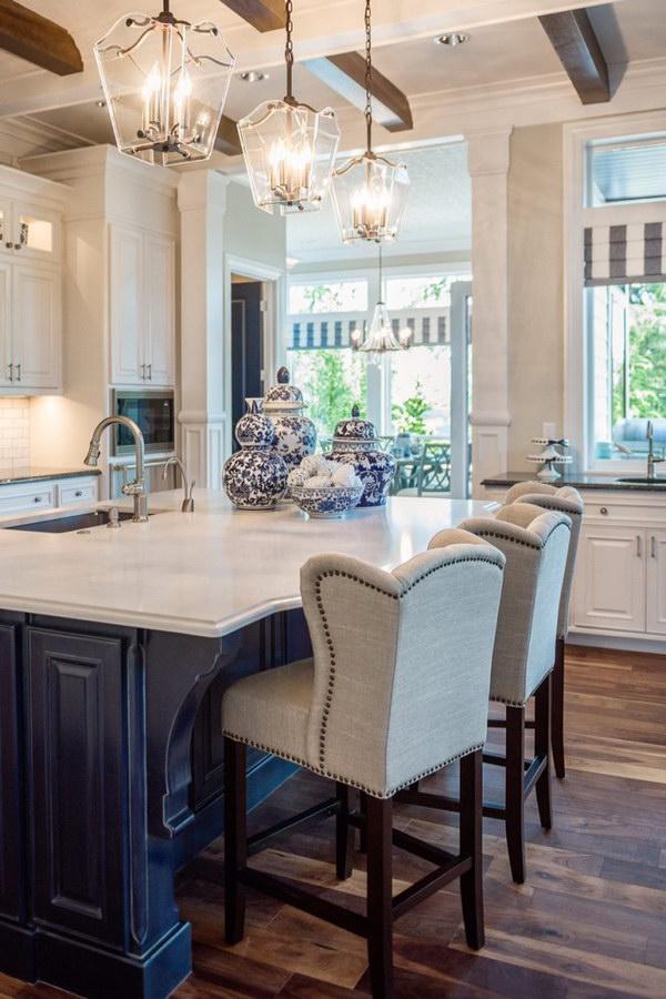 White Kitchen Countertop With Stylish Light.