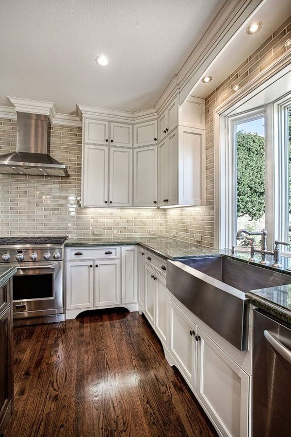Classic White Kitchen with Subway Tile.