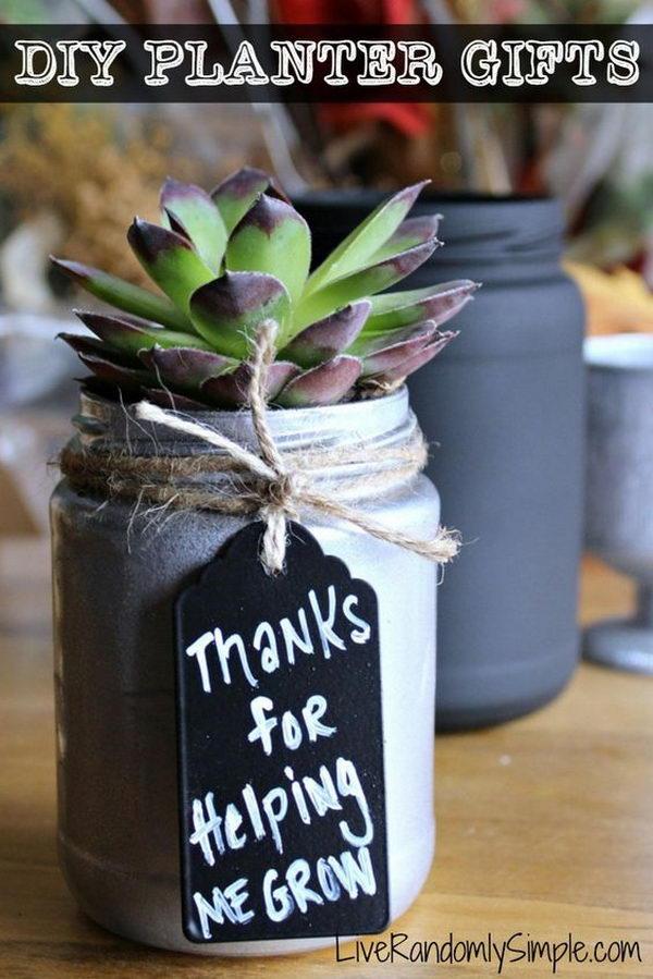 DIY Succulent Mason Jar Gift.