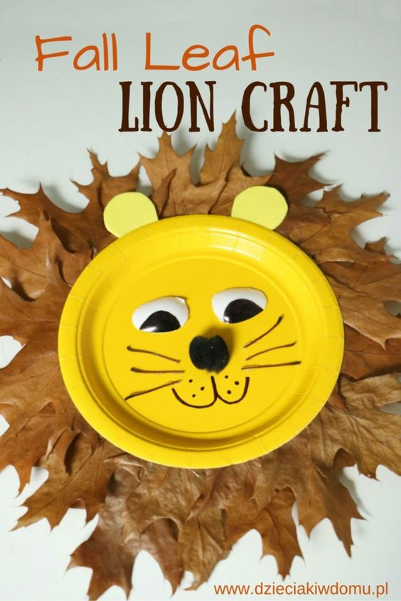 Fall Leaf Paper Plate Lion.